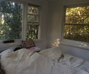 bed, treehouse, and bedroom image