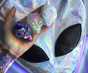 alien, holographic, and tumblr image