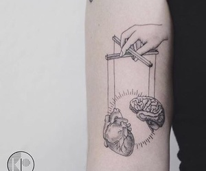 tattoo, heart, and brain image