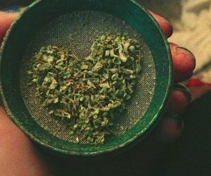 weed, heart, and marijuana image