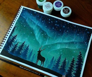 art, deer, and blue image