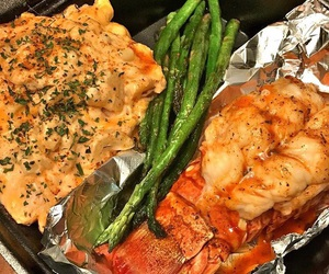 asparagus, food, and lobster image