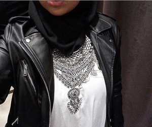 hijab, leather jacket, and outfits image