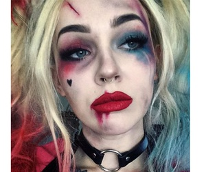 Halloween, makeup, and harley quinn image