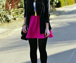 black heels, pink skirt, and lether jacket image