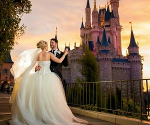 castle, couple, and disney image