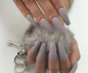 nails, matte, and rings image