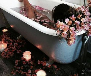 girl, flowers, and bath image