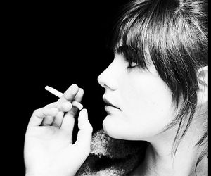 black and white, girl, and cigarette image