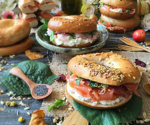 bagel, cheese, and food image