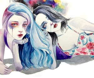 art, girls, and colorful image