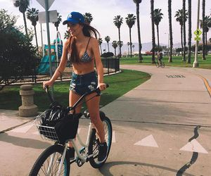 girl, beach, and bike image