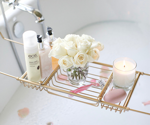 bath, candle, and interiors image