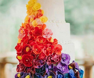 cake, flowers, and rosses image