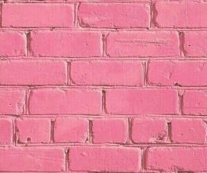 wallpaper, pink, and brick image