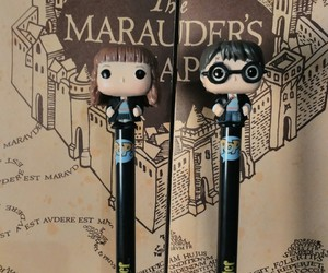 harrypotter, pens, and marauders map image