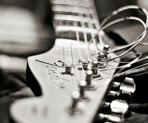guitar, black and white, and fender image