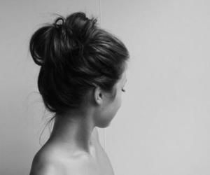black and white, brunette, and bun image