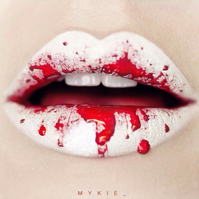 lips, blood, and makeup image