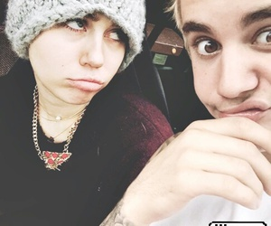 miley cyrus, singer, and justin bieber image