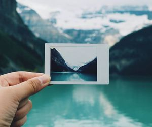 polaroid, blue, and photography image