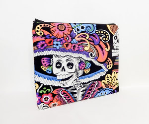 day of the dead, toiletry bag, and etsy image