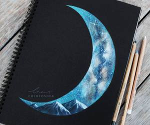 art, moon, and drawing image