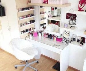 home, organization, and make up image