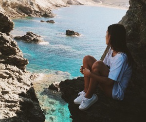 girl, ocean, and blue image