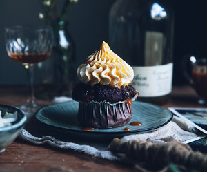 food, cupcake, and cake image