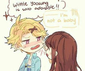mystic messenger, yoosung, and Mc image