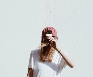 white, cap, and girl image