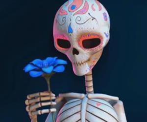 blue flower and skeleton image