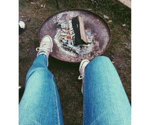 camping, fire, and girl image