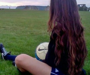 girl, hair, and soccer image