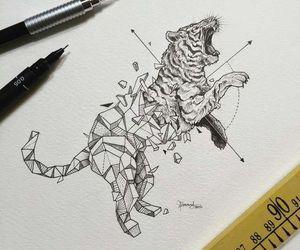 tiger, art, and drawing image