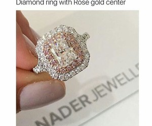 ring, diamond, and rose gold image