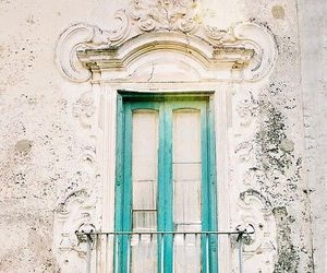 door, blue, and architecture image