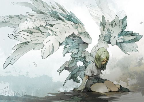 girl, illustration, and angel image