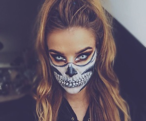 makeup, halloween look, and white eyes image