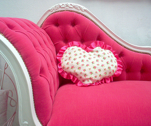 pink, heart, and sofa image