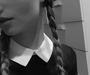black and white, hair, and Halloween image