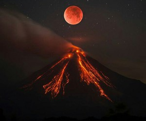 volcano, moon, and nature image