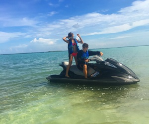 couples, in love, and jetskiing image