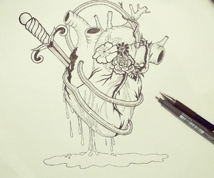 broken heart, heart, and illustration image