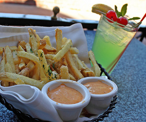 food, fries, and drink image