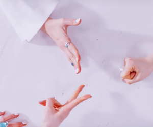 galaxy, girl group, and hands image