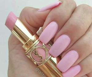 gold, lipstick, and nails image
