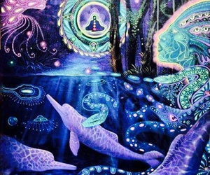 dolphin, art, and psychedelic image