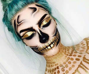 Halloween, makeup, and gold image